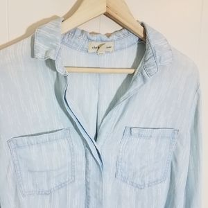 Anthropologie Tops - Cloth & Stone Chambray Split Back Blouse Tencel